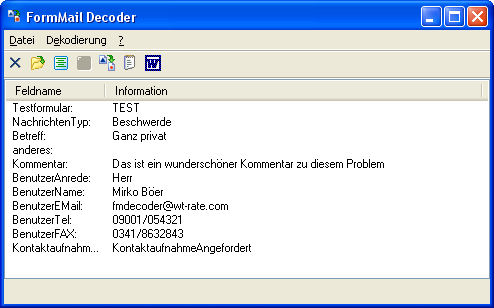 Screenshot vom Programm: FormMail Decoder