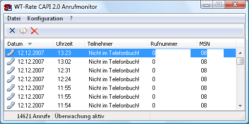 WT-Rate CAPI 2.0 Anrufmonitor