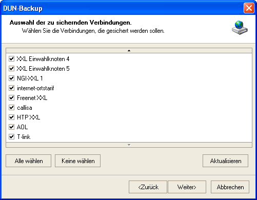 Screenshot vom Programm: DUN-Backup