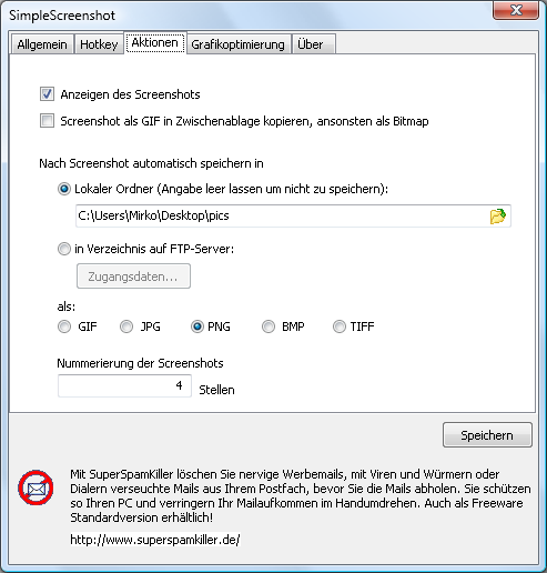 Screenshot vom Programm: SimpleScreenshot