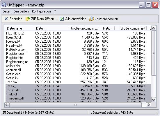 Screenshot vom Programm: UnZipper